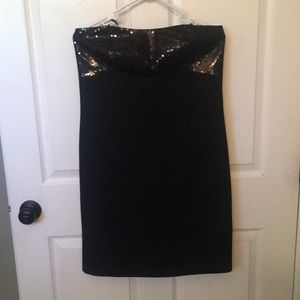Ann Taylor strapless black knee length dress